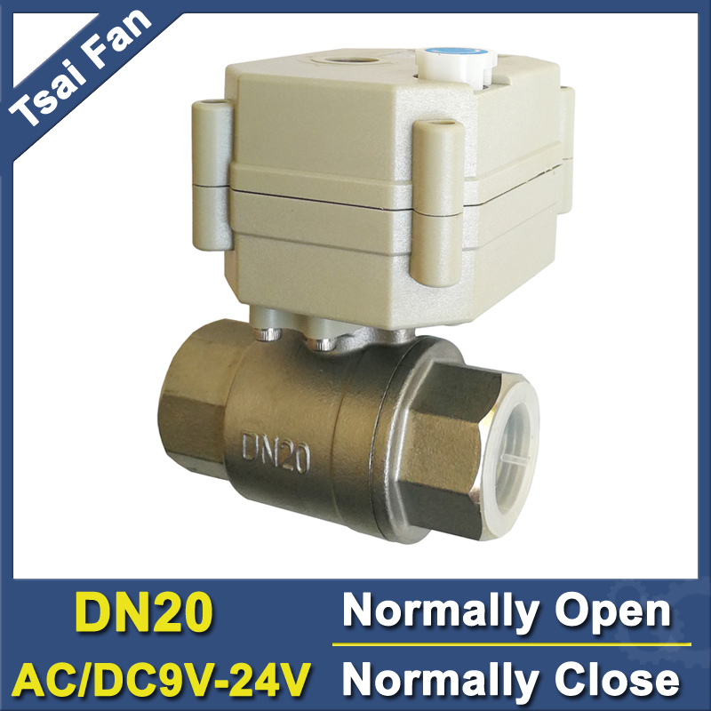 BSP/NPT 3/4 Stainless Steel Electric Normally Open/Close Valve With Manual Override DC/AC9V-24V 2/5 Wires TF20-S2-B Full Port tf20 s2 c high quality electric shut off valve dc12v 2 wire 3 4 full bore stainless steel 304 electric water valve metal gear