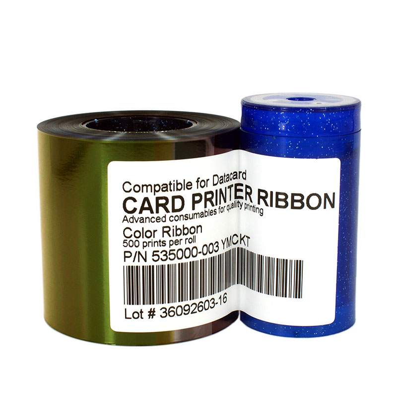 SEEBZ 535000-003 YMCKT Color Ribbon For Datacard CP40 CP60 Card Printer 500 Images Replaces 552854-604 datacard 535000 003 ymckt ribbon datacard cp80 card printer ribbon ymckt color ribbon