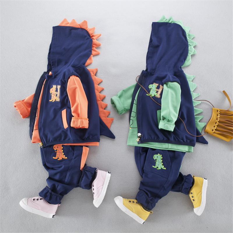 New Spring and Autumn Children Suit Baby Boy 3 Pieces 1-3 Year Old Dinosaur Cartoon Baby Hooded Tracksuits for Children old and new terrorism