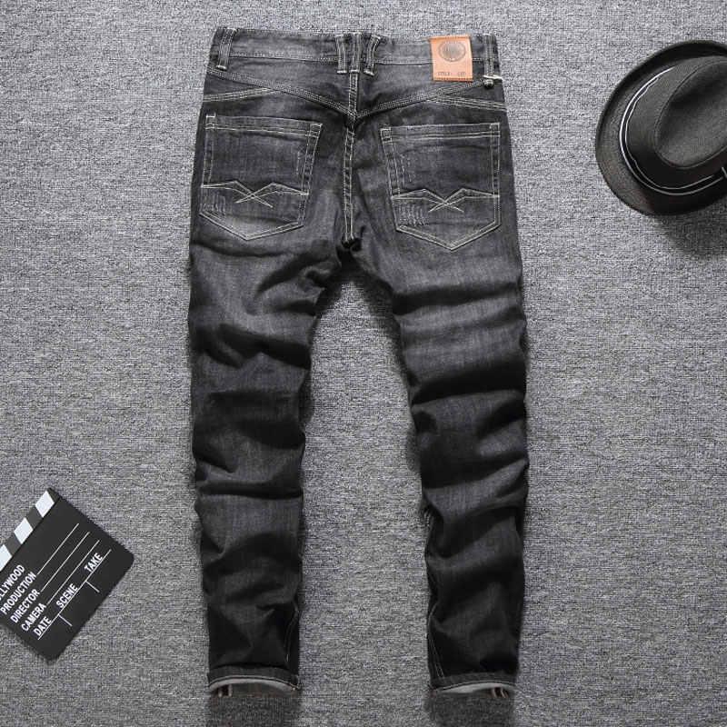 Diseñador italiano de los hombres pantalones vaqueros de moda Streetwear Color gris negro Slim Fit botones los clásica vaqueros Balplein marca de Jeans pantalones de los hombres