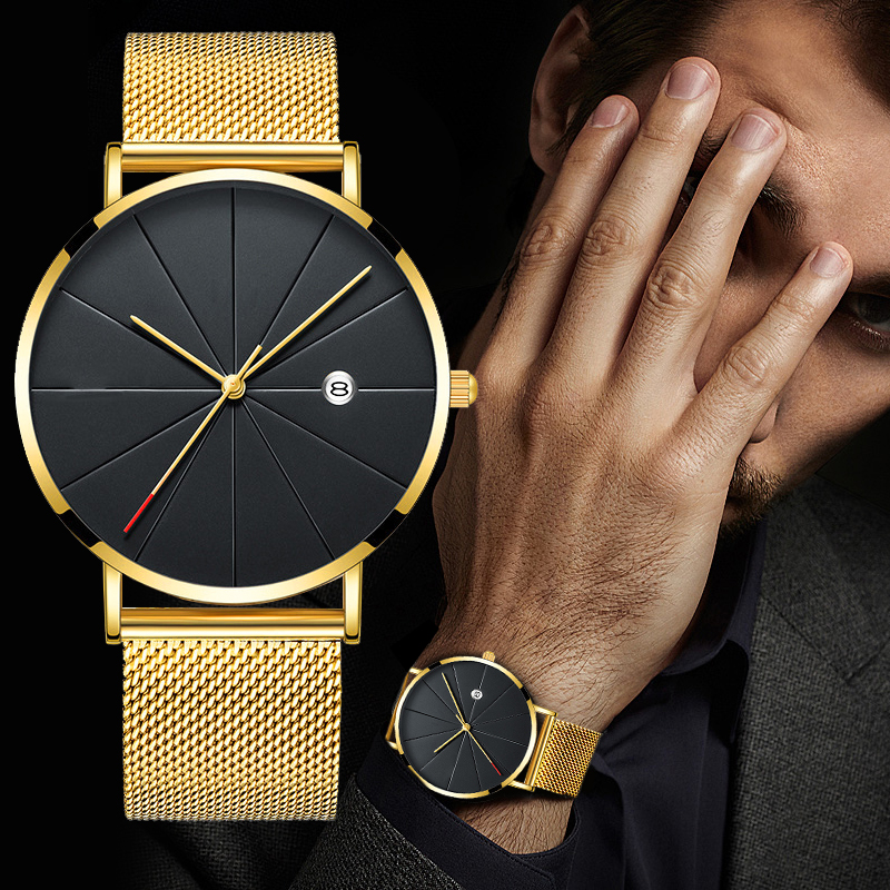 Luxury Fashion Business Watches Men Super Slim Watches Stainless Steel Mesh Belt Quartz Watches Gold Watches Men Gift 2020