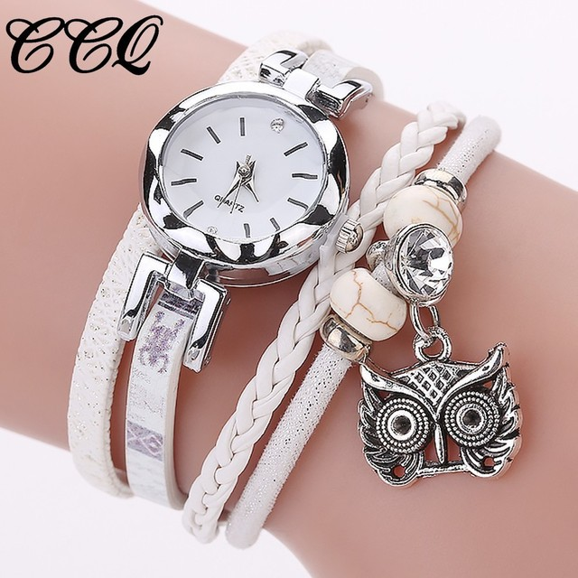 CCQ Multilayer Handmade Leather Bracelet Owl Wrist Watch Luxury Silver Dress Clo