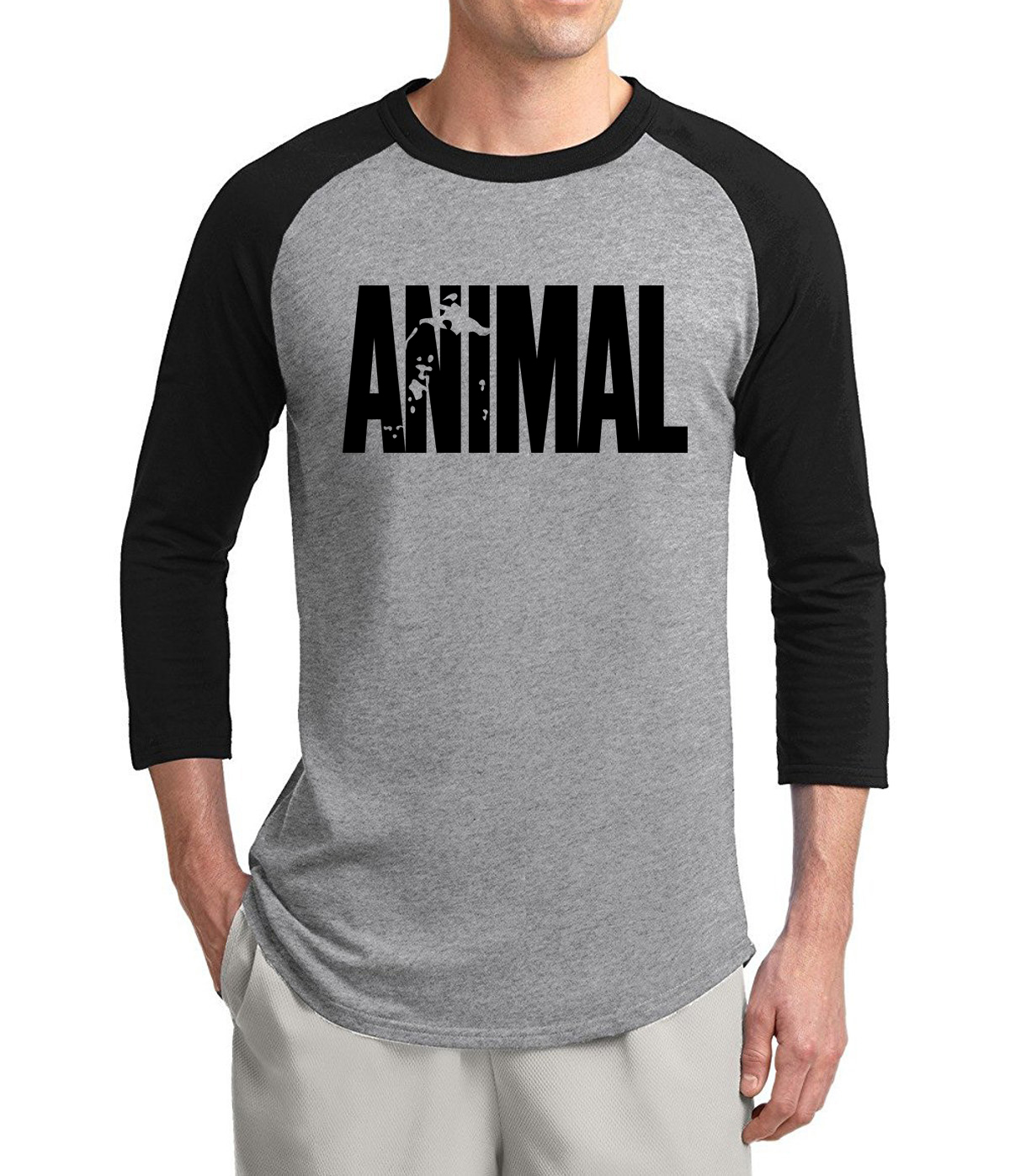 cf89e89c Fitness T Shirts Men Animal Printed 2019 Spring Summer 3/4 Sleeve Shirt  Cotton Crossfit Hip Hop Streetwear Bodybuilding Clothes-in T-Shirts from  Men's ...