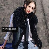 Funny Genuine Lamb Fur Leather Vest Street Wear Coated Sheepskin Fur Waistcoat Cool Girls Punk Style Black Fur Skin Gilet