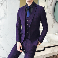 High end Mens Suits Wine Red Navy Blue Fashion Business Casual Plaid Suit men Jackets with Vest with Pants