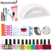 Nail Art Manicure Tool 24W Led Lamp+10 Color 10ml UV Gel Base Top Coat Polish with French Tip Remover Nail Sticker Practice Set