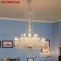 Long Stair Chandelier Crystal Large Foyer Light Modern Fashion Living Room Dining Hall Complex Staircase Lighting