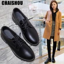 2019 zapatos de plataforma de mujer de Primavera de charol negro con cordones Vintage grueso con zapatos Oxford Calzado cómodo D135