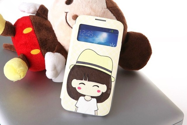 Hot Sales!Samsung Galaxy S4 S View Flip Cover Case, Cartoon Drawing,Touch Screen S-View Window, Automatic Power On/Off Display
