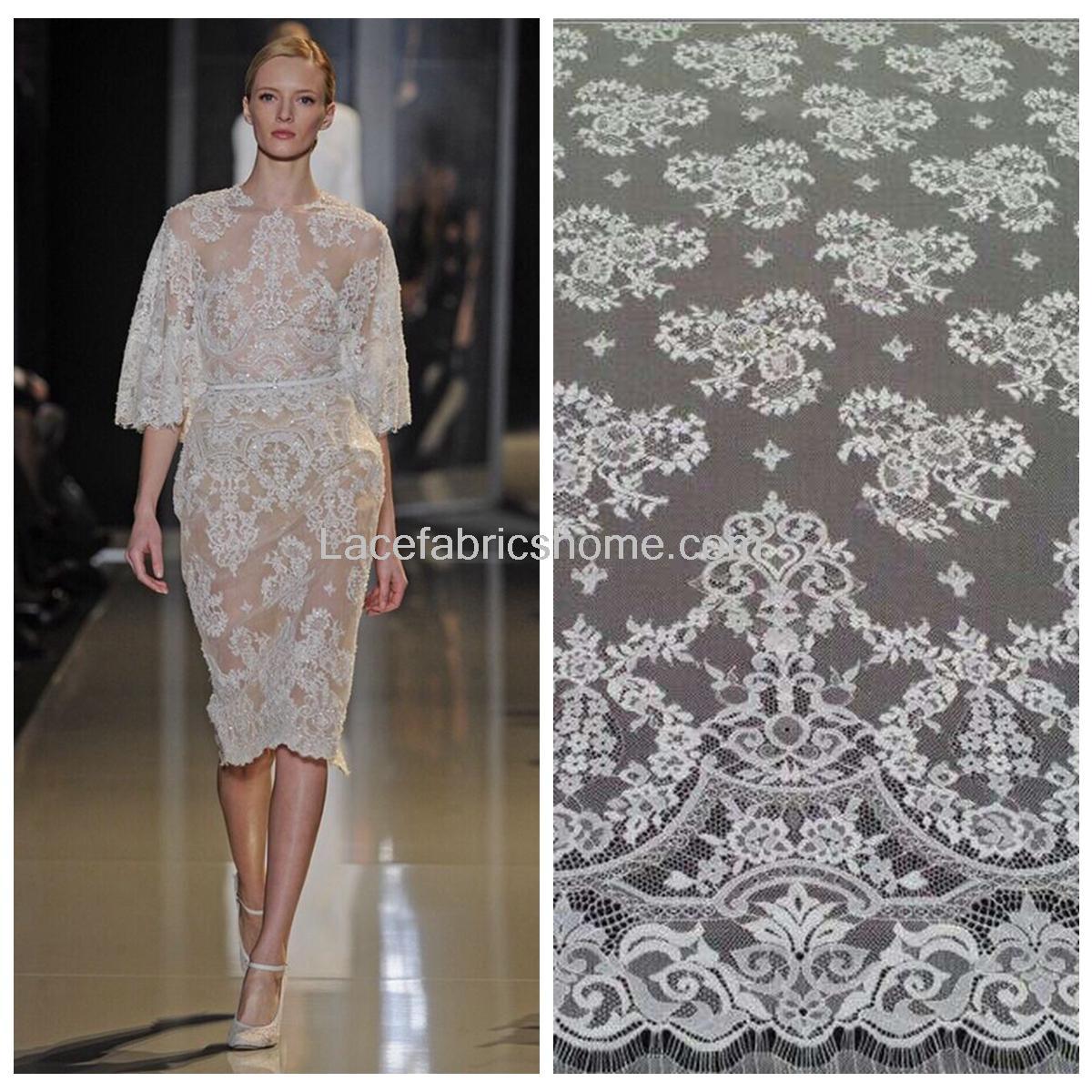 La Belleza 3 meters/pc Off wit, huid, ivoor Venetië geborduurde Franse wimper bruids kant stof 59X177 inches