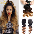 Ms lula волос с закрытие и пучки блондинка меда vip красоты волос бразильского виргинские волос с закрытие Ombre Бразильские Волосы