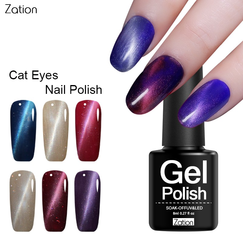 Zation New 8ML Diamond Glitter Magnet Colorful Cat Eye Gel Nail Polish UV LED Lamp Soak