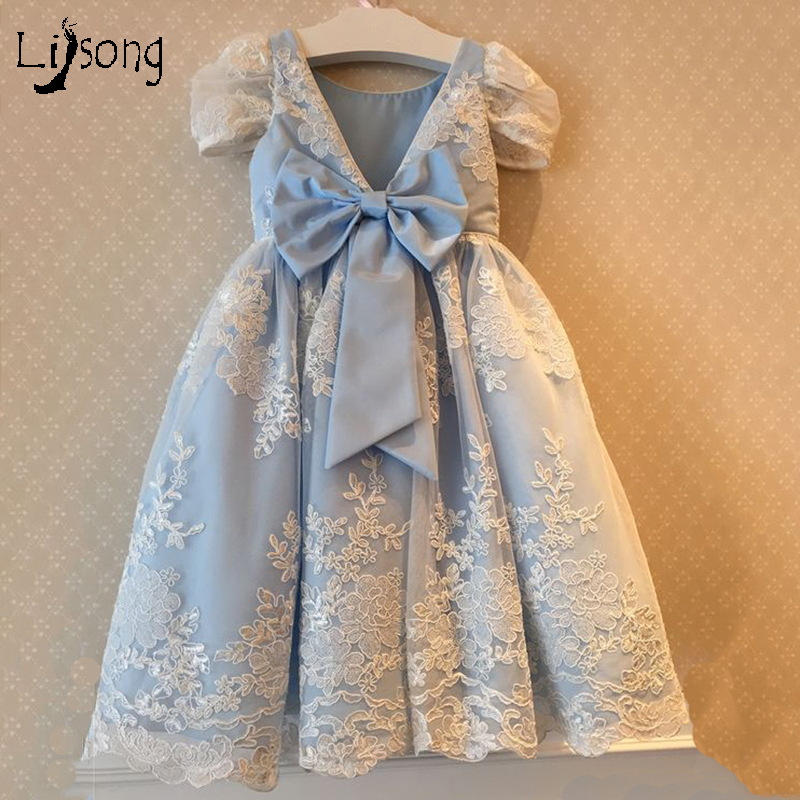 Sky Blue Lace   Flower     Girl     Dress   Floor Length with Bow Custom Made A-line Appliques Short Sleeves for Wedding Birthday Maxi Gowns
