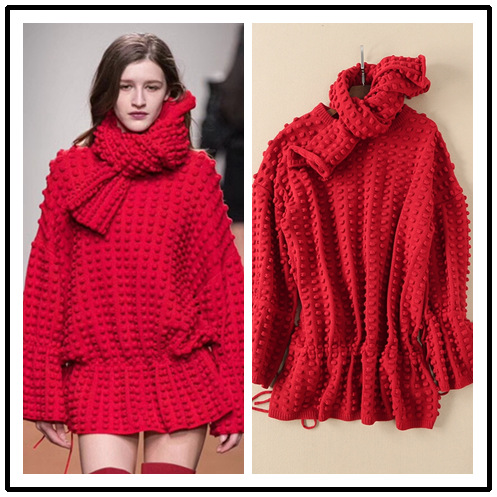eb9d79b01b0 Limited Offer 2019 Autumn Winter Show Style Women Fashion Three-dimensional  Ball Tie with Woolen Sweater Women Medium-length Knitted Top Scarf
