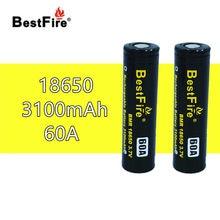 2 uds Bestfire 18650 batería recargable 3,7 V Li-Ion 3100mAh 60A para Vape caja set Mod mecánico E cigarrillo vaporizador E Hookah B118