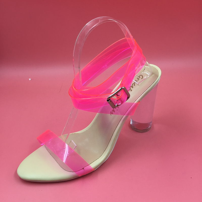 Pink Plastick Sandals Women Pvc Shoes Ankle Strap Clear Heels 10cm Real Sexy Party