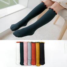 YOOAP 1 Pair 2019 New Spring Summer Cotton Lace Double Needle Children Breathable Socks Solid Baby Girls Knee School