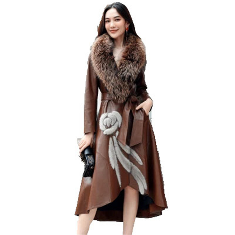 Leather   Female 2018 Winter New   Leather   Long Coat Fashion Slim Big Fox fur Mao Lingjun Green Women's   Leather   Clothing D461