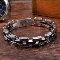 Mechanical Motocycle Thick Chain Bracelet Men In Titanium Stainless Steel Mens Jewelry Fashion Industrial Design Men