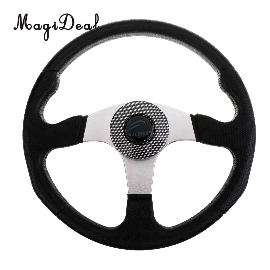 MagiDeal Heavy Duty 34cm Aluminum Alloy Marine Boat Steering Wheel 3 Spoke 3/4' Shaft for Dinghy Vessels Yacht Pontoon Boat Acce free shipping 128 180mm aluminum alloy metal water steering wheel for rc gasoline boat racing o boat 180mm steering wheel