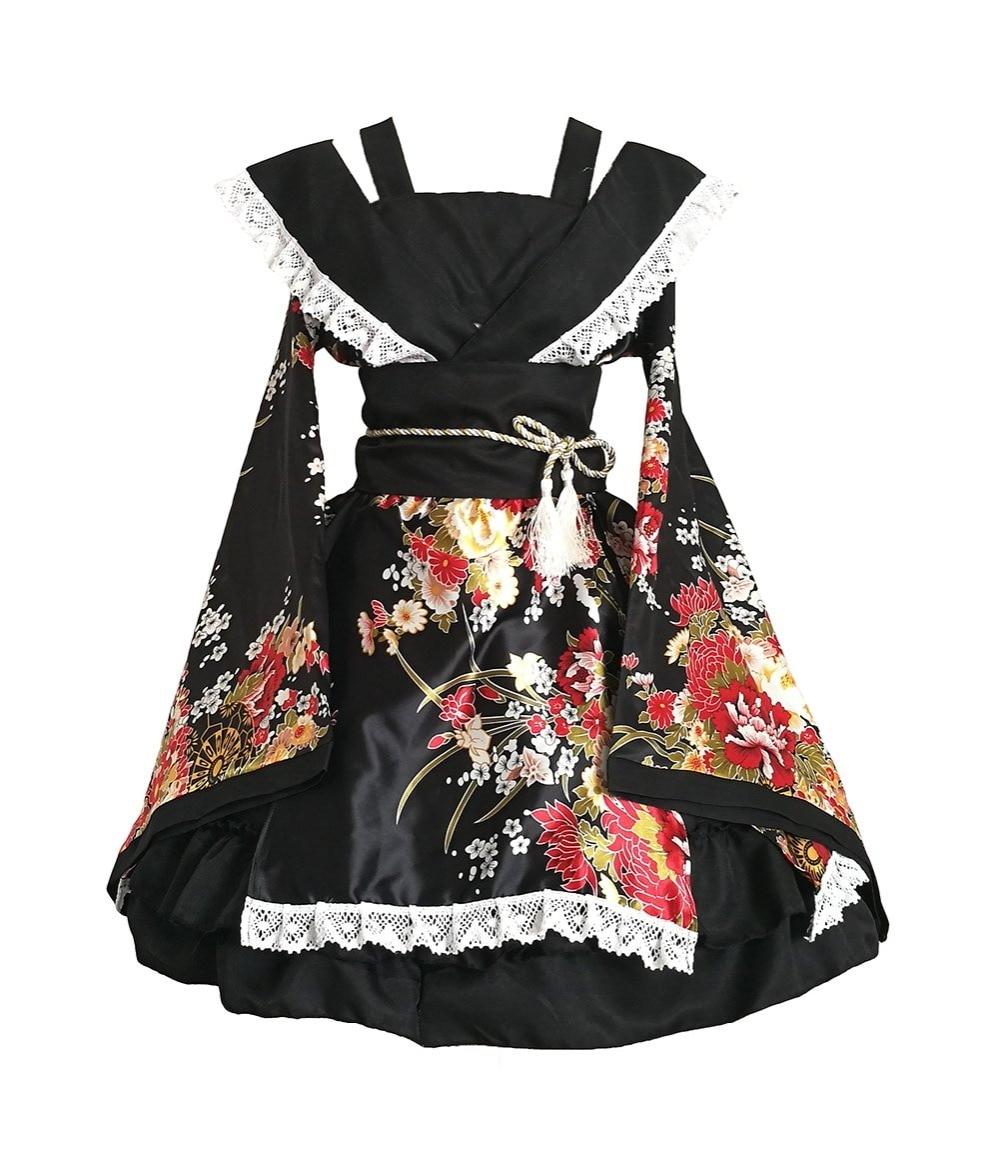 Shanghai Story Anime Cosplay Costumes Flower Printing Lace Edge Kimono Yukata Maid Dress Meidofuku Uniform Outfit