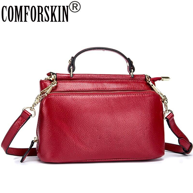 COMFORSKIN Bolsas Feminina 2018 New Arrivals 100% Genuine Leather Womens Bag Hot Sales Brand Designer Shoulder Messenger Bags