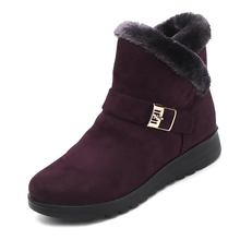 Europe Women Boots 2018 Winter Short Snow Boot Ankle Flat Shoes Woman Fashion Plus Velvet Warm Cotton Shoes Slip-on Botas Mujer
