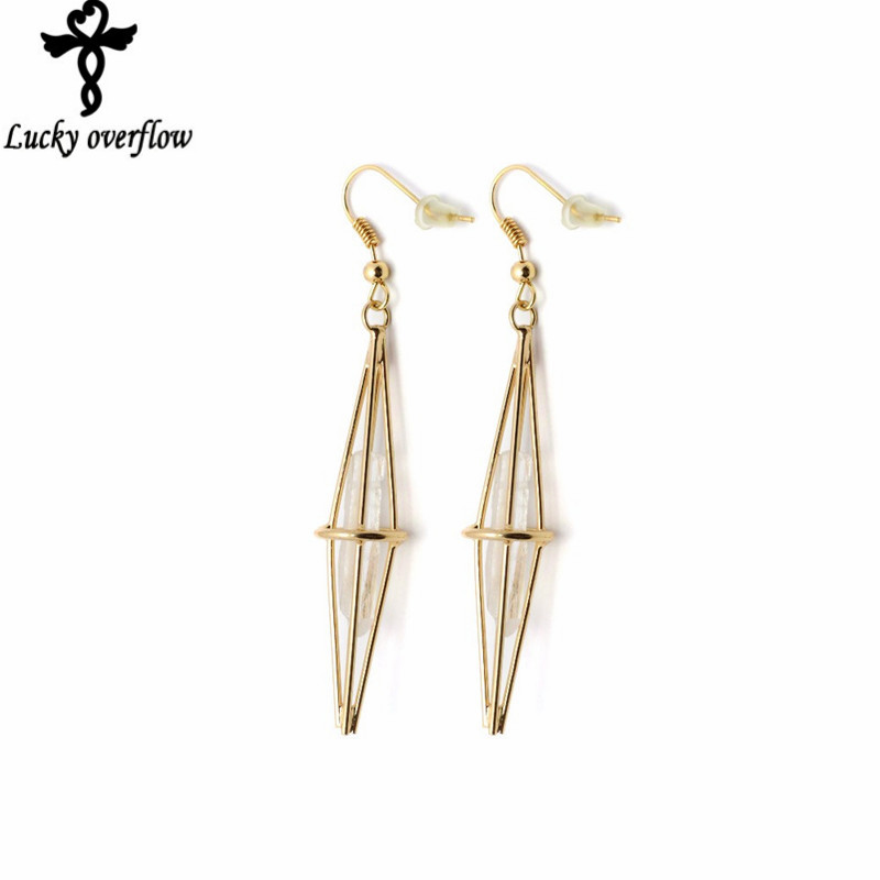 Vintage Triangle Hollow Drop 18K Gold Plated Natural Stone Earrings White Crystal Gem Long Earhook Dangle Earrings for Women