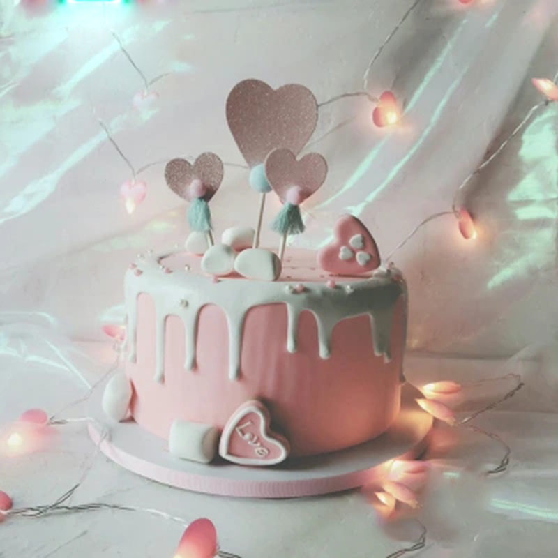 Incredible 3Pcs Cute Heart Cake Toppers Birthday Cake Top Hat Picking Up Personalised Birthday Cards Sponlily Jamesorg