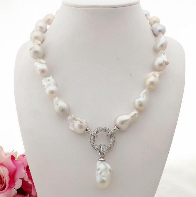 """Keshi Pearl Necklace: Beautiful 18"""" 12x17mm Natural White Reborn Keshi Pearl"""