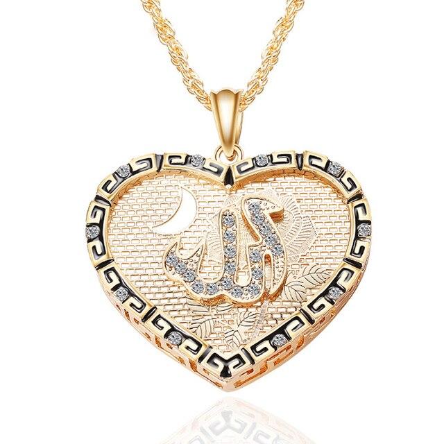 A La Mode Coeur D Amour Cz Iced Out Musulman Allah Lune Pendentif