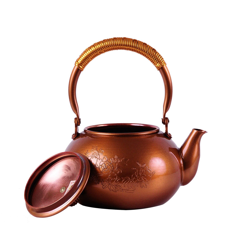 Drinkware 2016 olla de té de hierro fundido sin recubrimiento juego de té japonés Kung Fu hecho a mano Japón peonía cobre púrpura con filtro 1.2L - 3
