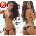 Solid Brown Modern Fit Strappy Butt Bottom Scrunch Bandage Bikini Set/swimsuit Micro Mini Brazilian Thong Swimwear Wholesale