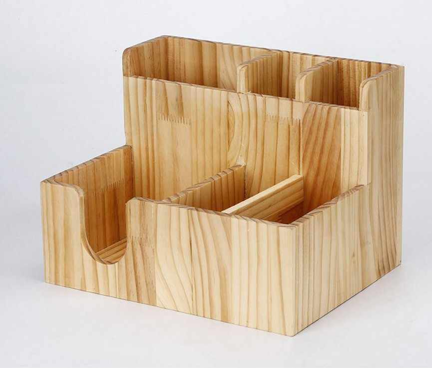 shelves Wooden Tissue Fork Straw Storage Box With Paper Cup Holder for Coffee Milk Tea Shop Bar Use kitchen