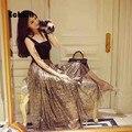 Summer 2017 Fashion gold New Patchwork Mesh skirts womens Party maxi skirt saia Long skirt Elastic waist tulle skirt faldas