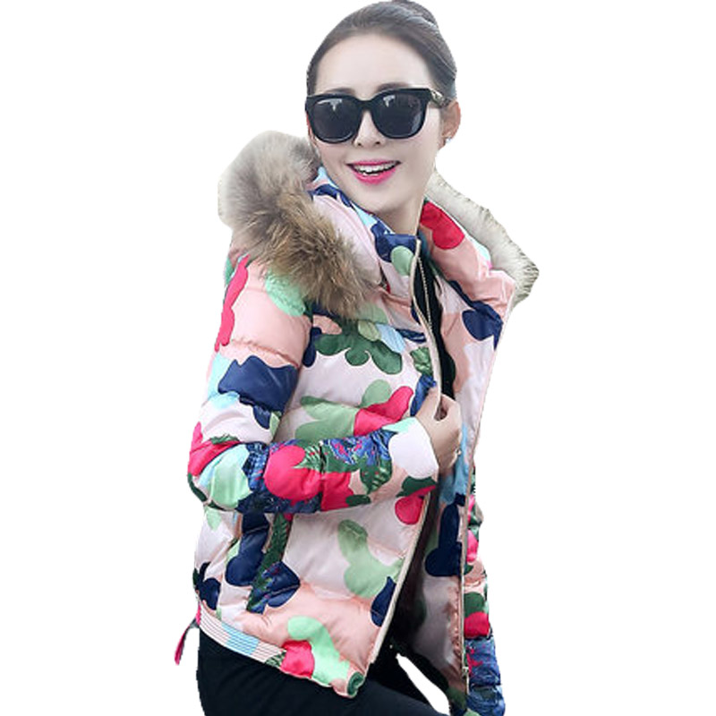Hooded Fur Collar Women Printed Short Basic Parka Overcoat 2017 Winter New Ladies Camouflage Jacket Coat Pink Green Purple XH656 inc new purple pink paisley printed women s size small s tank cami top $59