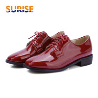 Spring British Casual Women Flats Lace up Square Toe Low Heel Derby Brogue Patent Leather Autumn Vintage Dress Red Ladies Shoes