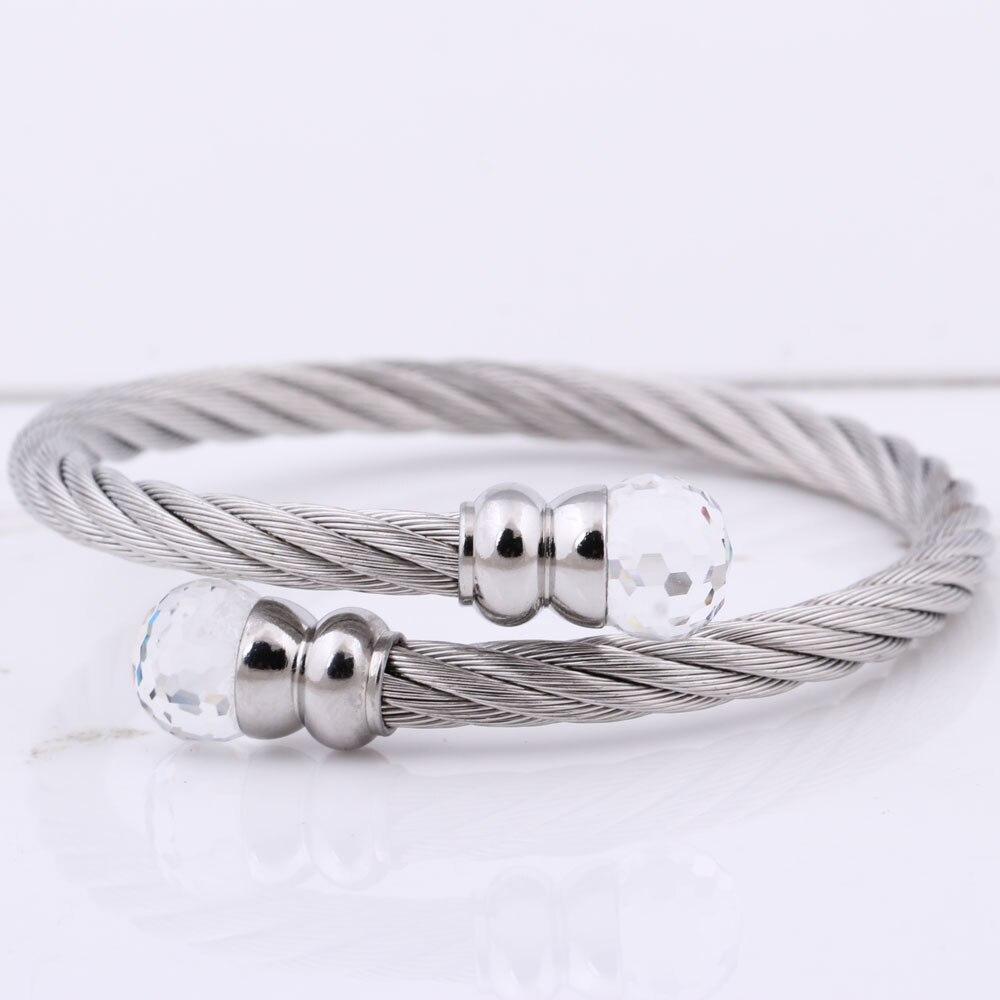 Modeschmuck Frauen Open Bangle Edelstahl Twisted Cable Wire Armband - Modeschmuck - Foto 6
