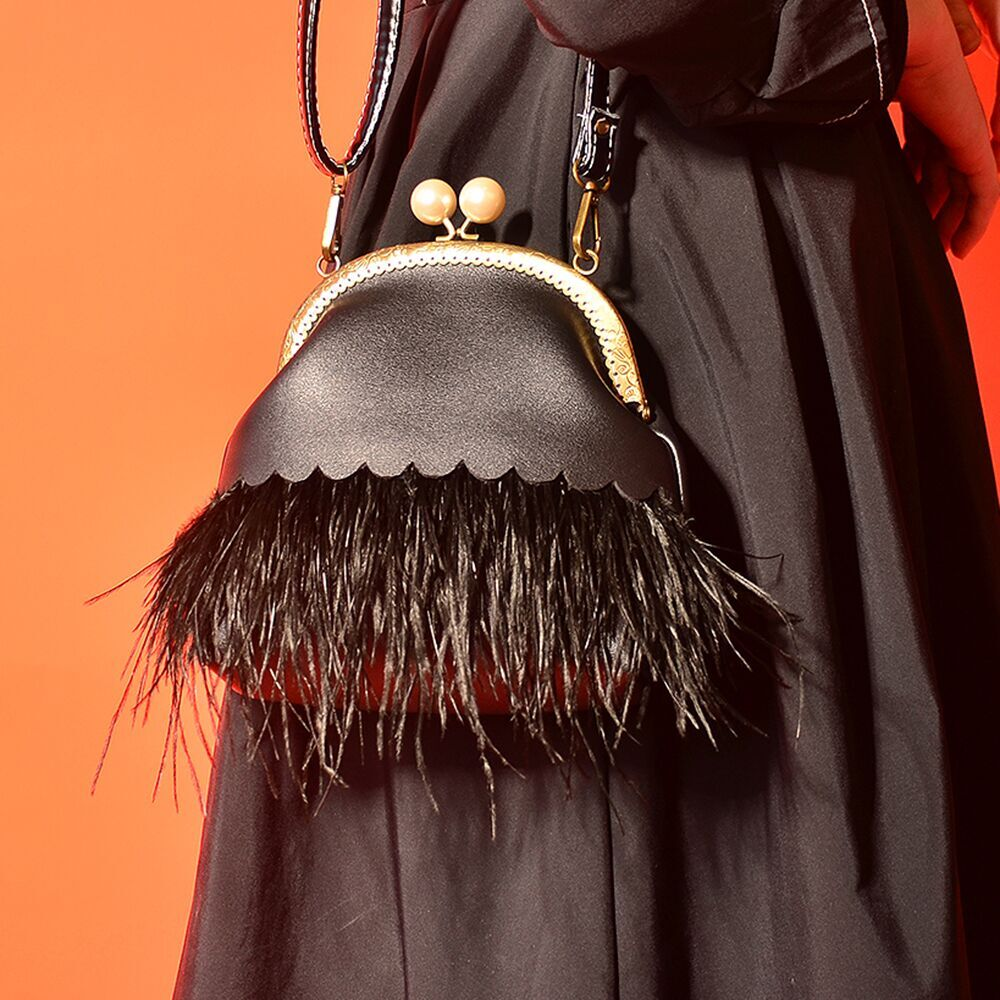 Angelatracy 2018 Fashion Ostrich hair Lace Tassel Women Shoulder Bag PU Feather Black Generous Simple Girl Chain Cross body BagAngelatracy 2018 Fashion Ostrich hair Lace Tassel Women Shoulder Bag PU Feather Black Generous Simple Girl Chain Cross body Bag