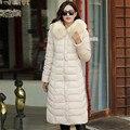 Mulheres Casaco de Inverno grande Gola De Pele Destacável Espessamento Com Capuz Jaqueta Plus Size 4XL 5XL 6XL Parka Casacos Para mulheres A1557