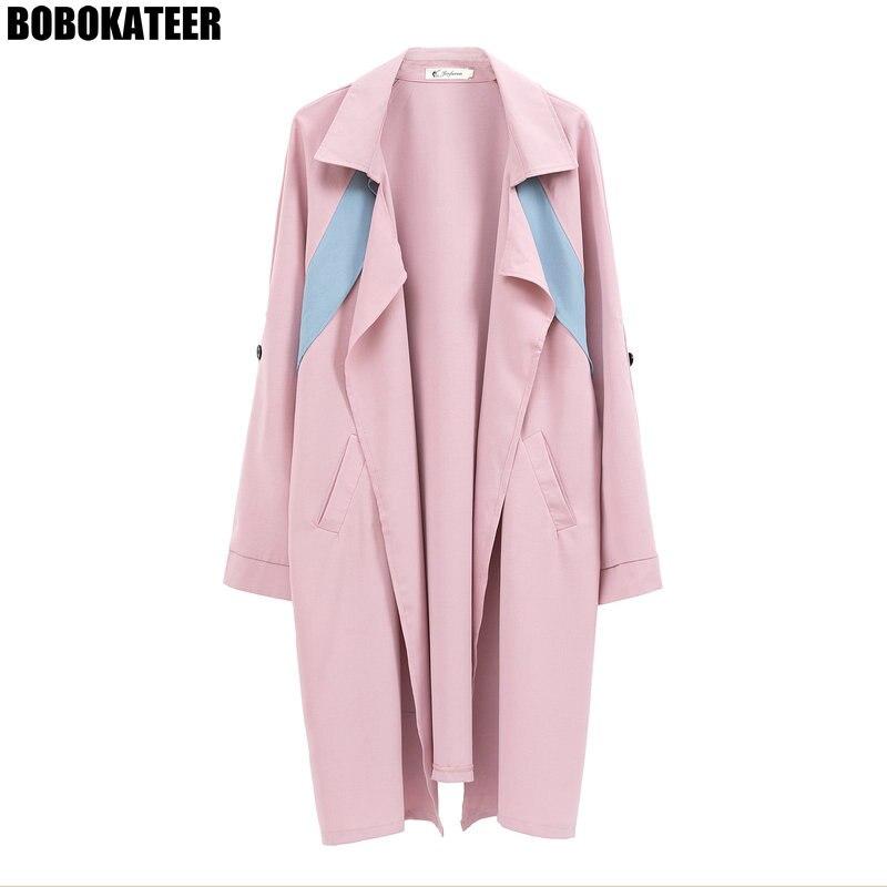Fashion   Trench   Coat For Women Windbreaker Coat Plus Size Cardigan Clothes Pink   Trench   Manteau Femme Veste Longue Autumn 2018
