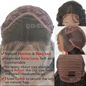 Image 5 - QD Tizer длинные вьющиеся парики, синтетические кружевные передние парики, безклеевые 180% черные волосы, Детские волосы из термостойкого волокна