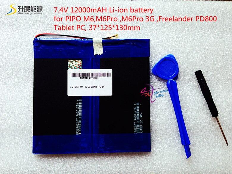 37125130 7.4 V 12000 mAH Li-ion batterie pour M6, M6Pro, M6Pro 3G, Freelander PD800 Tablet PC, 37*125*130mm