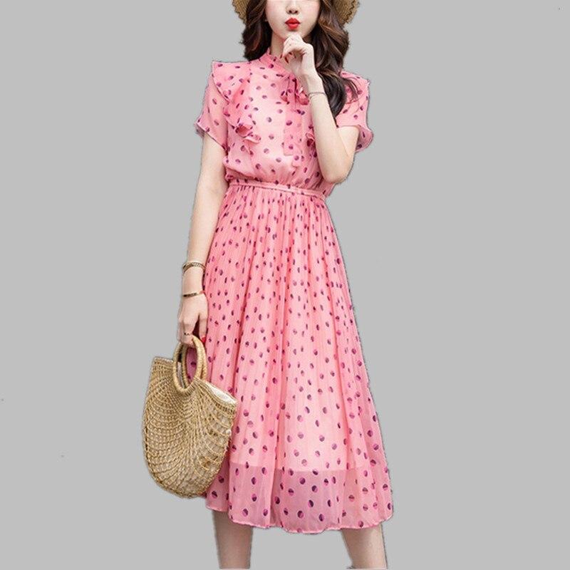 205f82055 HAMALIEL Fashion 2019 Summer Chiffon Dress Women Pink Dot Print Bow Pleated  Dress Elegant Short Sleeve Elastic Waist Beach Dress-in Dresses from Women's  ...