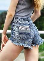Women's Rivets With Holes In Loose Denim Short Jeans