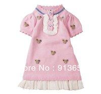 Free Shipping Retail Baby Clothing New 2013 Autumn Winter Baby Dress Girl Bear Princess Dress Girls