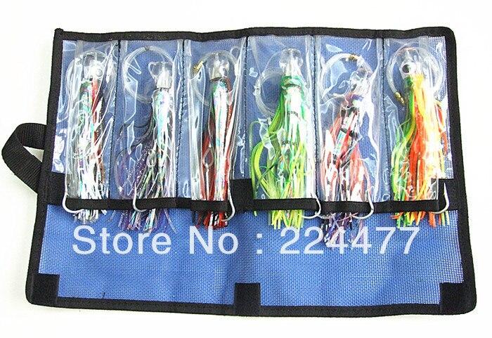 Livraison gratuite-8.5 pouce pieuvre leurre Double pieuvre jupe tête en résine avec crochet ligne pêche attirail costume pas cher paquet de pêche