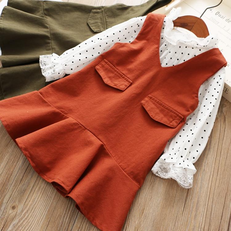 Korean Girl Polka Dot Shirt and Dress Two Pieces Suits Children Fall Dress Set polka dot a line pin up dress