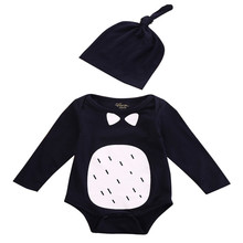0-18M Newborn Baby Kids Boys Girls Outfits playsuit Jumpsuit Romper Hat 2pcs Set
