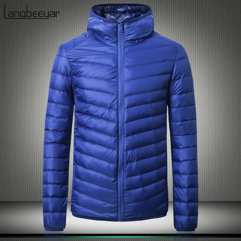 Men's Clothing 2019 Winter Fashion Brand Ultralight Duck Down Jacket Mens Packable Streetwear Feather Coats Korean Hooded Warm Mens Clothing Jackets & Coats
